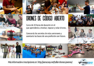 Taller de drones de código abierto para jóvenes y adolescentes. Aprenden a construir y reparar drones.